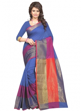 Blue and Rose Pink Contemporary Style Saree