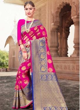 Blue and Rose Pink Designer Traditional Saree