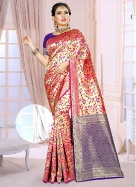 Blue and Rose Pink Designer Traditional Saree