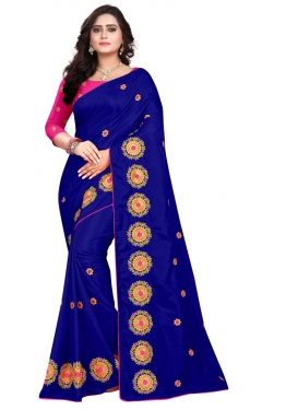 Blue and Rose Pink Embroidered Work Contemporary Saree