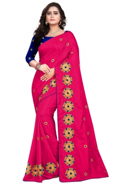 Blue and Rose Pink Embroidered Work Designer Traditional Saree