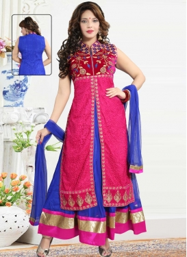 Blue and Rose Pink Embroidered Work Readymade Designer Gown