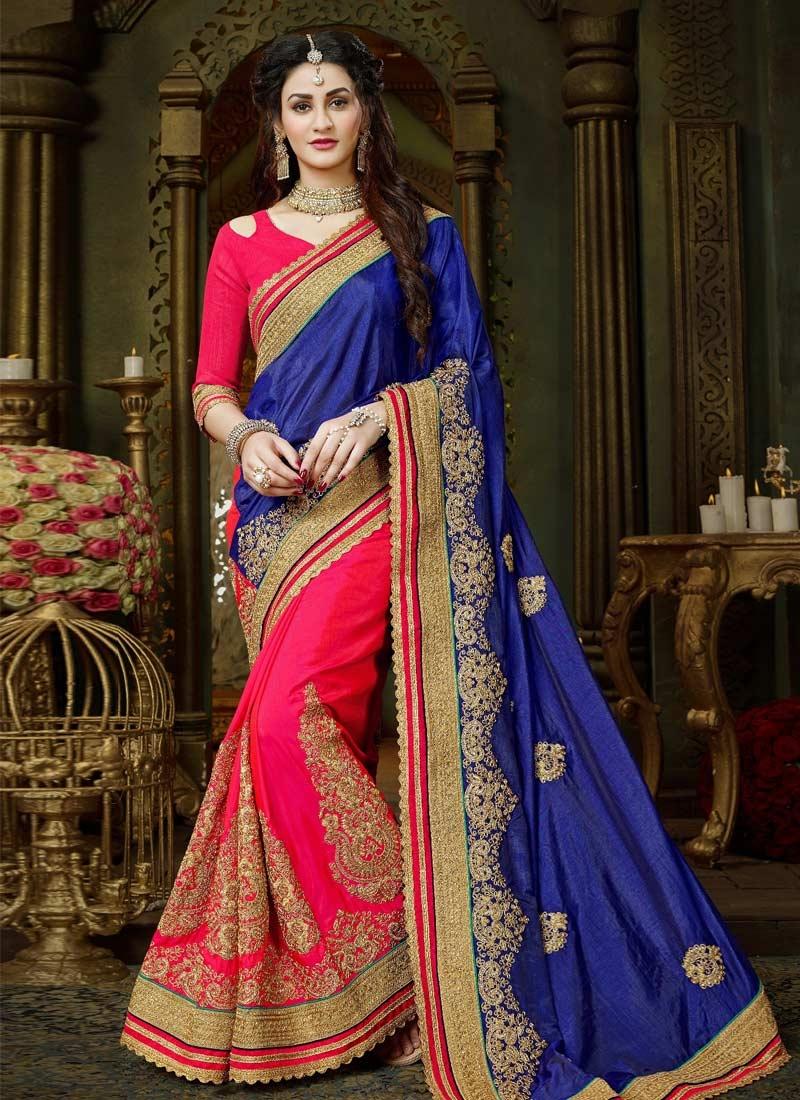 Blue and Rose Pink Half N Half Trendy Saree