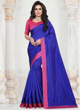 Blue and Rose Pink Lace Work Traditional Designer Saree