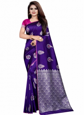 Blue and Rose Pink Traditional Designer Saree