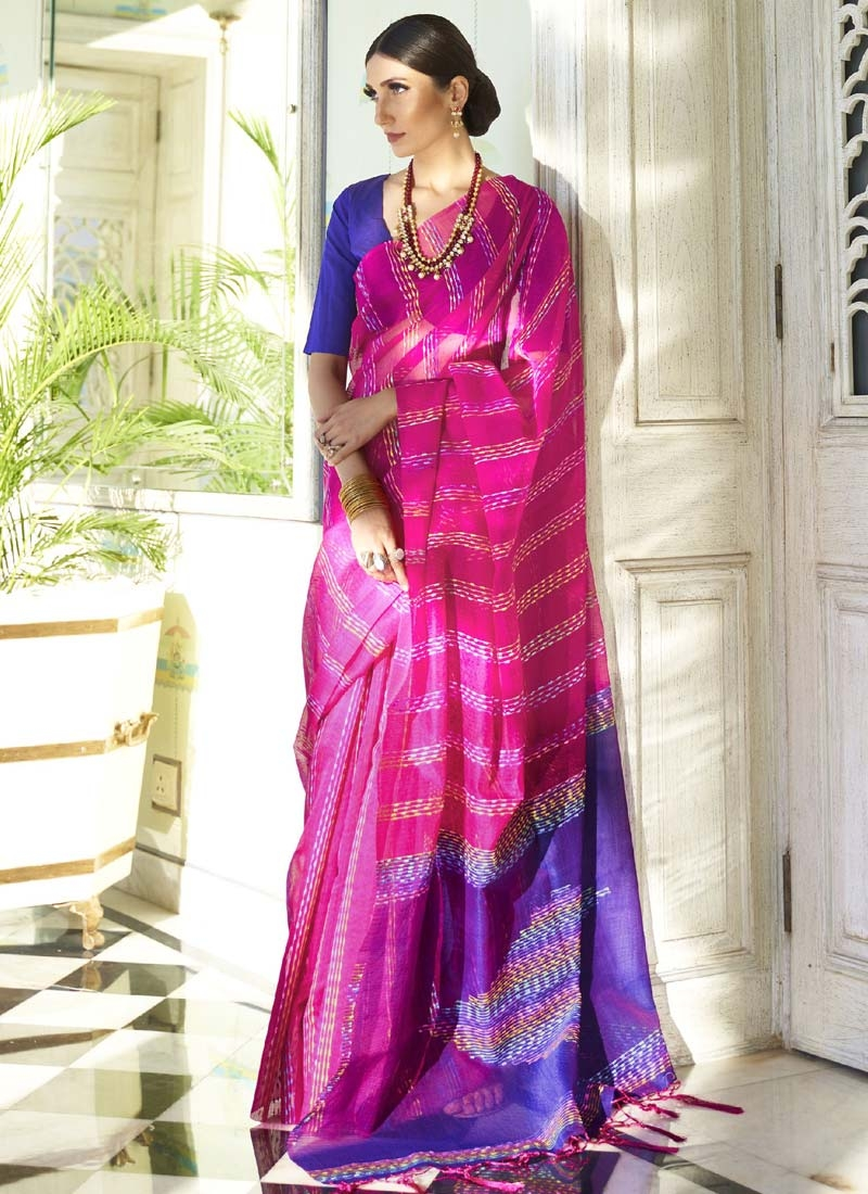Blue and Rose Pink Traditional Designer Saree For Ceremonial