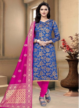Blue and Rose Pink Trendy Straight Salwar Suit For Casual