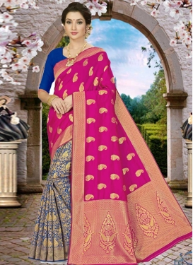 Blue and Rose Pink Woven Work Designer Half N Half Saree