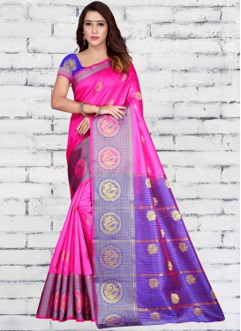 Blue and Rose Pink Woven Work Designer Traditional Saree