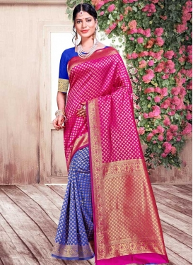 Blue and Rose Pink Woven Work Half N Half Saree
