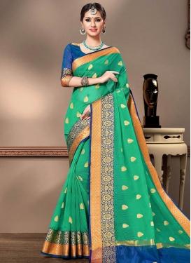 Blue and Sea Green Trendy Classic Saree