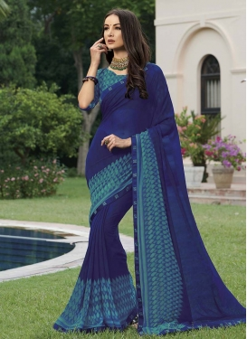Blue and Teal Designer Traditional Saree