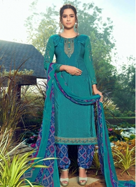 Blue and Teal Trendy Patiala Salwar Suit For Casual