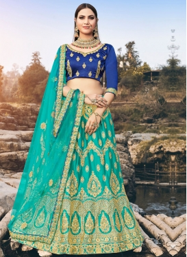 Blue and Turquoise Satin Silk A Line Lehenga Choli