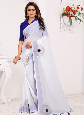 Blue and White Faux Georgette Trendy Classic Saree