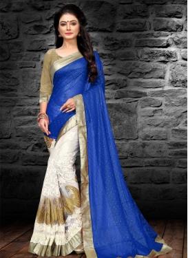 Blue and White Georgette Designer Half N Half Saree