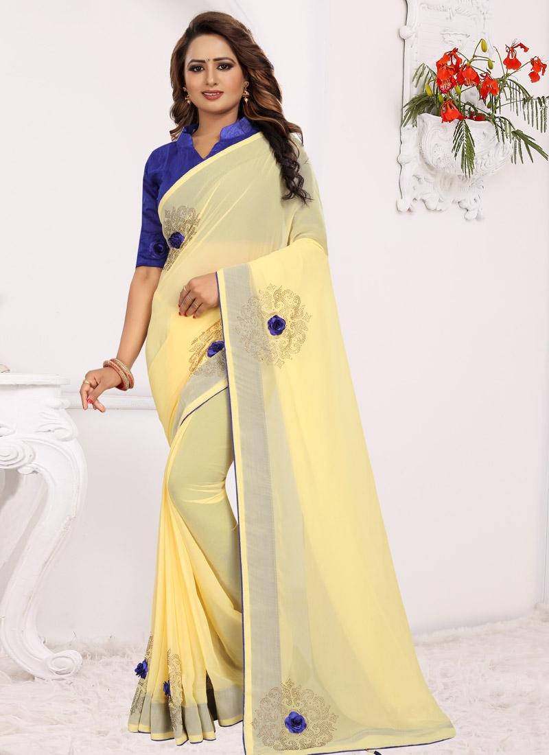 Blue and Yellow Designer Contemporary Saree For Casual