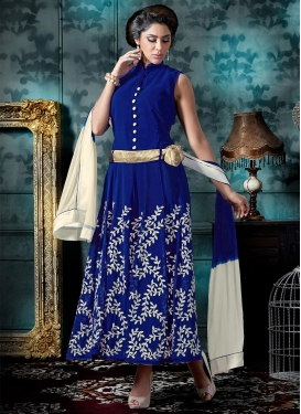 Blue Faux Georgette Ankle Length Anarkali Salwar Suit For Festival