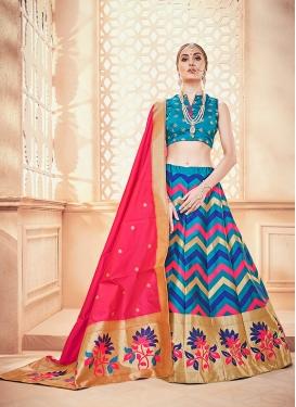 Blue Weaving Art Silk Designer Lehenga Choli