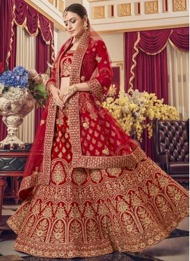 Booti Work A Line Lehenga Choli For Bridal