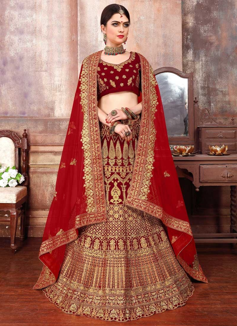 Booti Work A - Line Lehenga For Bridal
