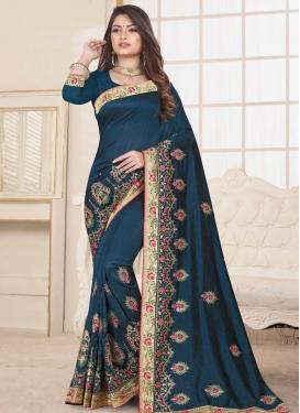 Booti Work Art Silk Contemporary Style Saree