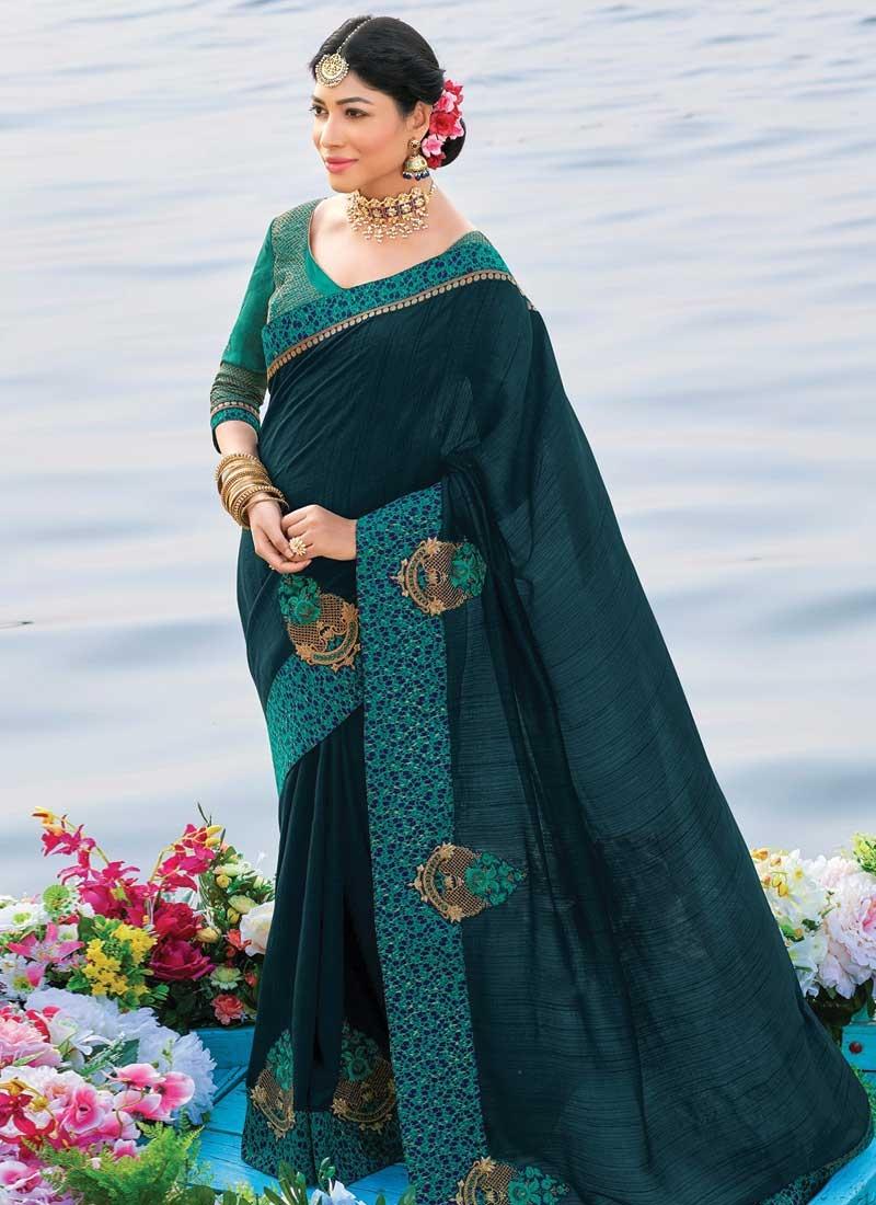 Booti Work Art Silk Traditional Saree