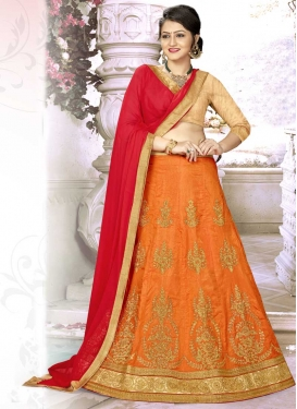 Booti Work Beige and Orange Satin Silk A Line Lehenga Choli