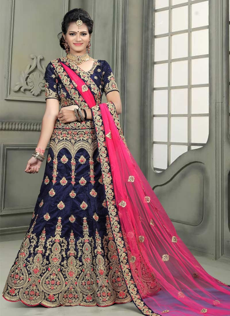 Booti Work Black and Navy Blue Trendy Lehenga Choli