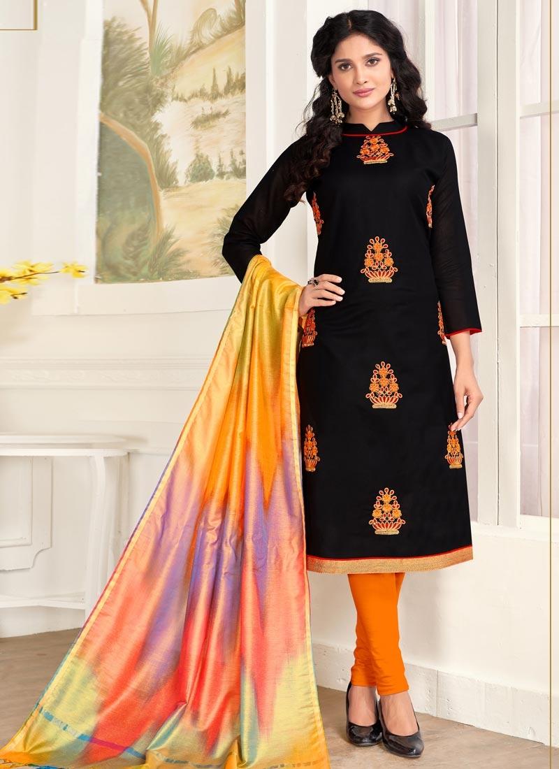 Booti Work Black and Orange Cotton Churidar Salwar Kameez