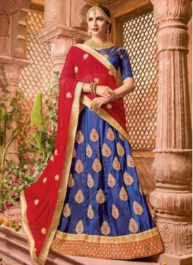 Booti Work Blue and Red A - Line Lehenga