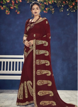 Booti Work Designer Contemporary Saree