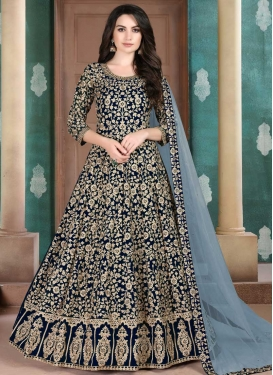 Booti Work Faux Georgette Designer Floor Length Salwar Suit