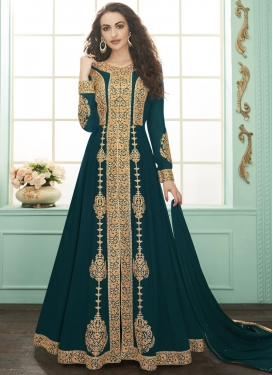 Booti Work Faux Georgette Long Length Designer Suit
