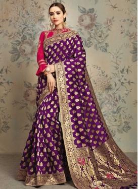 Booti Work Jacquard Silk Designer Contemporary Saree