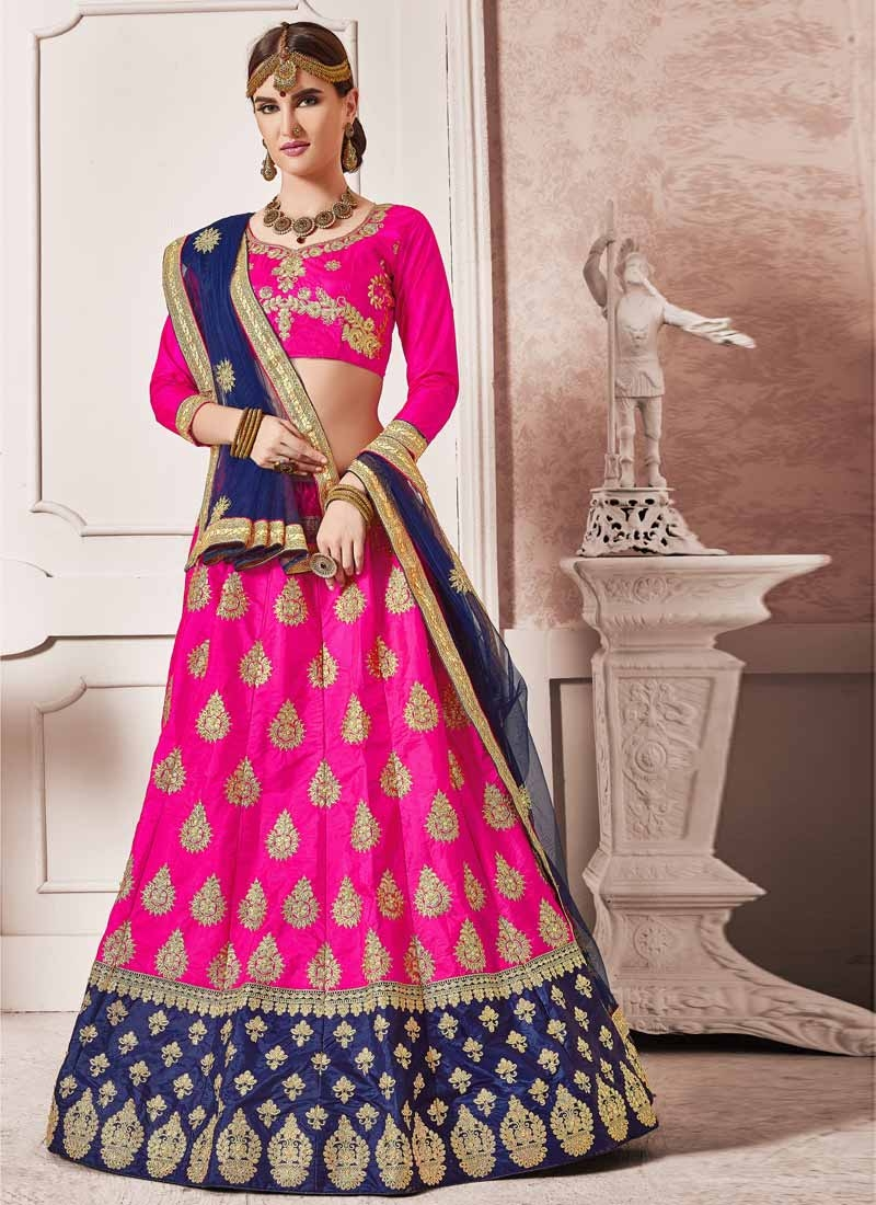 Booti Work Navy Blue and Rose Pink Art Silk Lehenga Choli