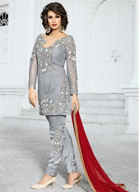 Booti Work Net Pant Style Designer Salwar Kameez
