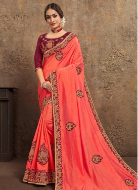 Booti Work Poly Silk Designer Traditional Saree