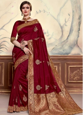 Booti Work Poly Silk Designer Traditional Saree