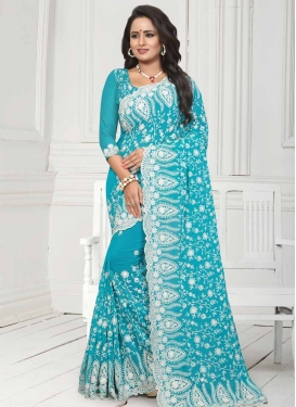 Booti Work Pure Georgette Contemporary Style Saree For Party