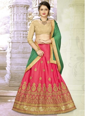 Booti Work Satin Silk A Line Lehenga Choli