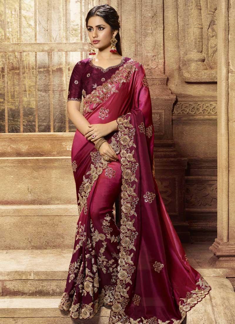 Booti Work Satin Silk Maroon and Red Designer Contemporary Style Saree