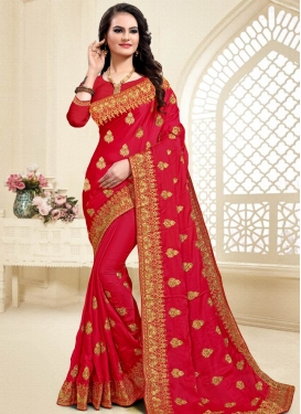 Booti Work Satin Silk Trendy Classic Saree