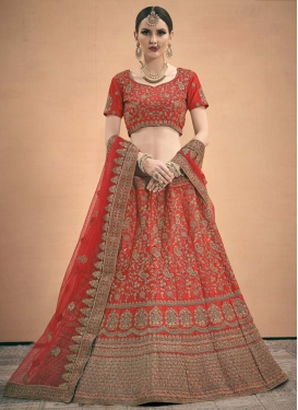 Booti Work Satin Trendy Lehenga Choli