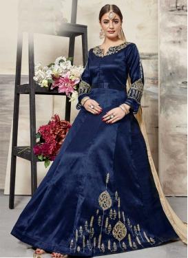 Booti Work Silk Long Length Anarkali Salwar Suit