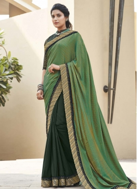 Bottle Green and Green Embroidered Work Trendy Classic Saree