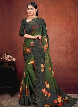 Bottle Green and Green Traditional Designer Saree For Festival