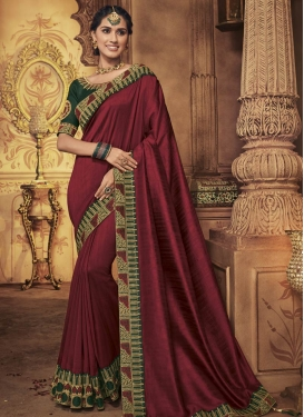 Bottle Green and Maroon Traditional Designer Saree