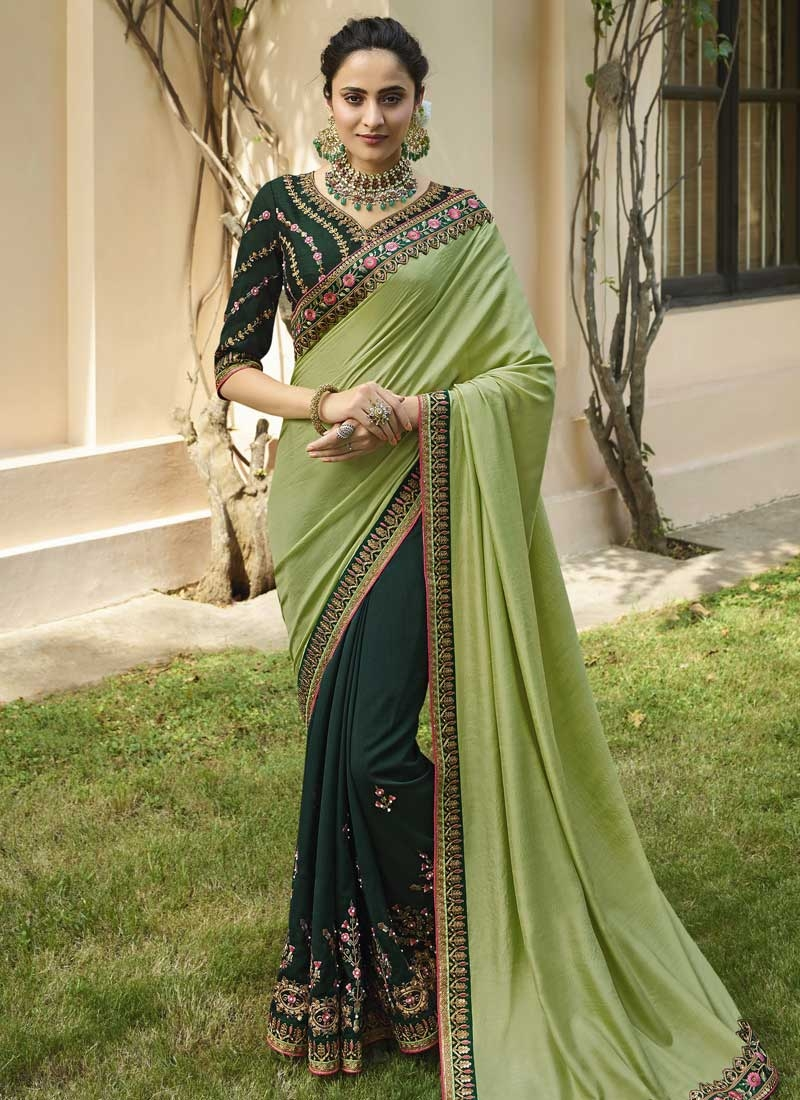 Bottle Green and Mint Green Beads Work Half N Half Trendy Saree