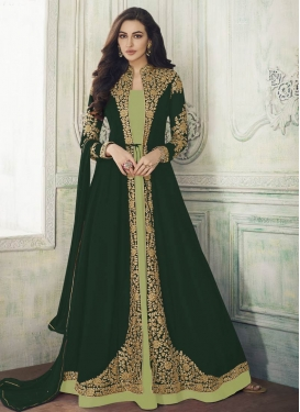 Bottle Green and Mint Green Embroidered Work Jacket Style Long Length Suit